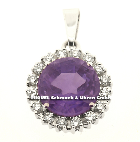 Whitegold pendant with Amethyst and brilliants