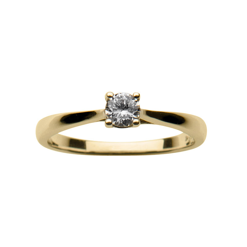 Solitaire ring 14 ct yellow  gold 0,25ct