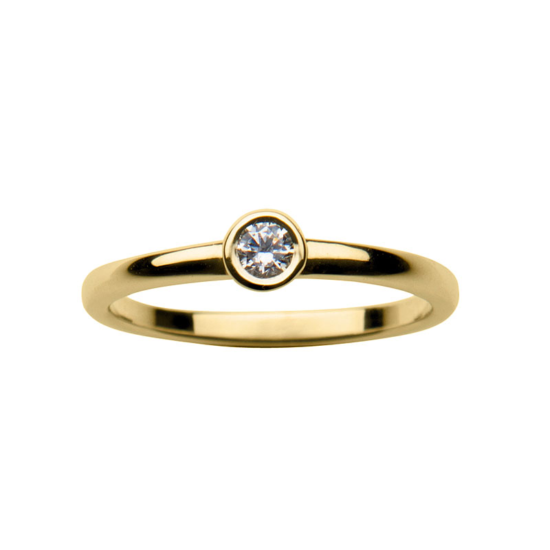 Solitaire ring 14 ct yellow  gold 0,10ct