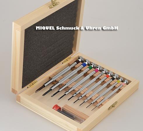Master Tool Selection - Satz à 9 screwsdreher with Farbcode im woodetui 0,6-3.0 mm