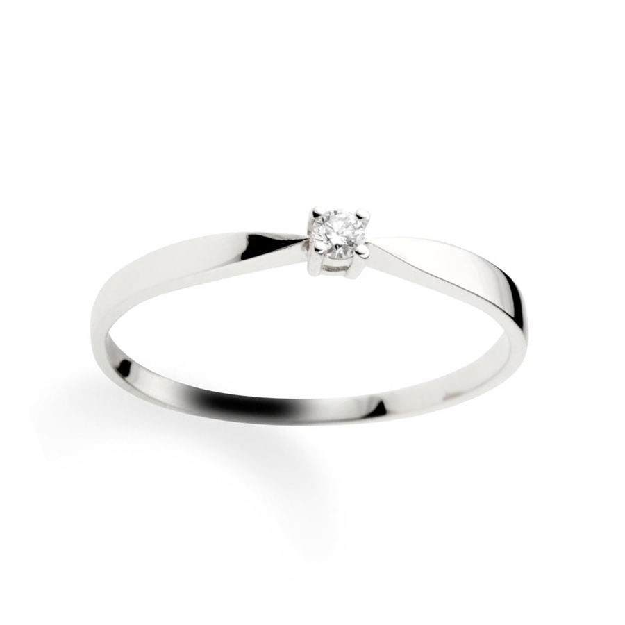 Solitaire ring 14 ct white gold 0,05ct