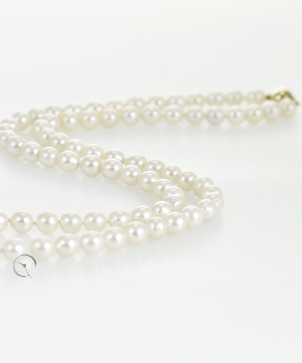 Akoya Cultured Pearl Necklace with 14 ct yellow gold ball lock
