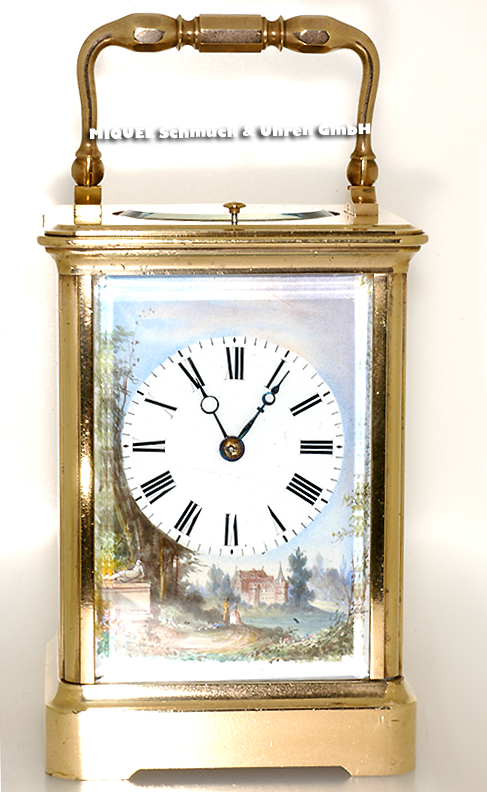 Table clock with painted enameled dial