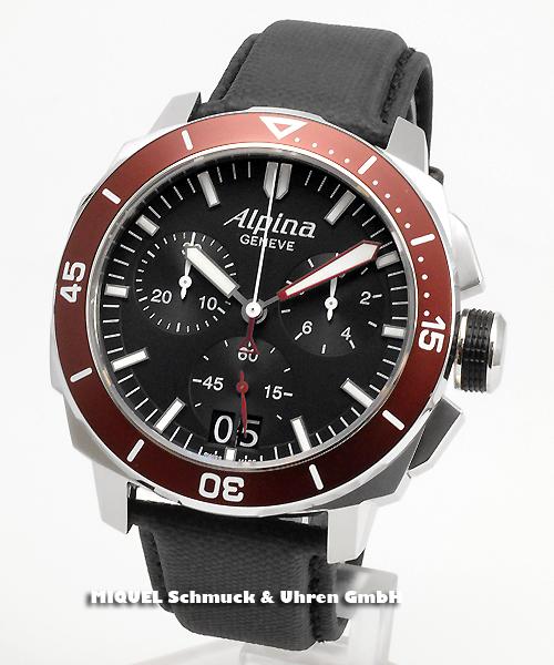 Alpina Seastrong Diver 300 Chronograph Big Date - 39,8% saved ! *