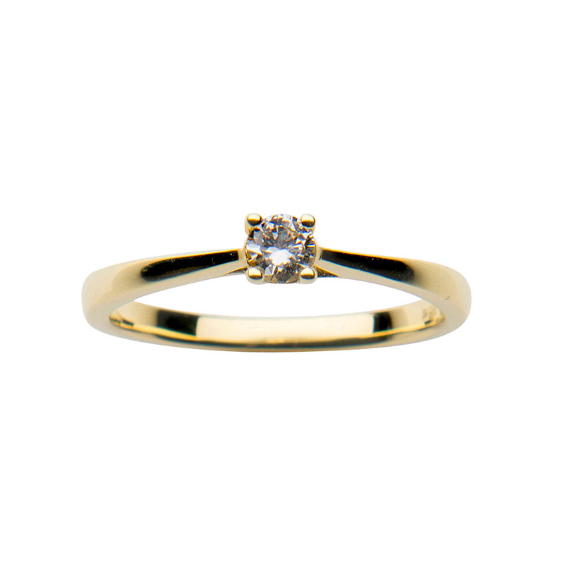 Solitaire ring 14 ct yellow  gold 0,20ct