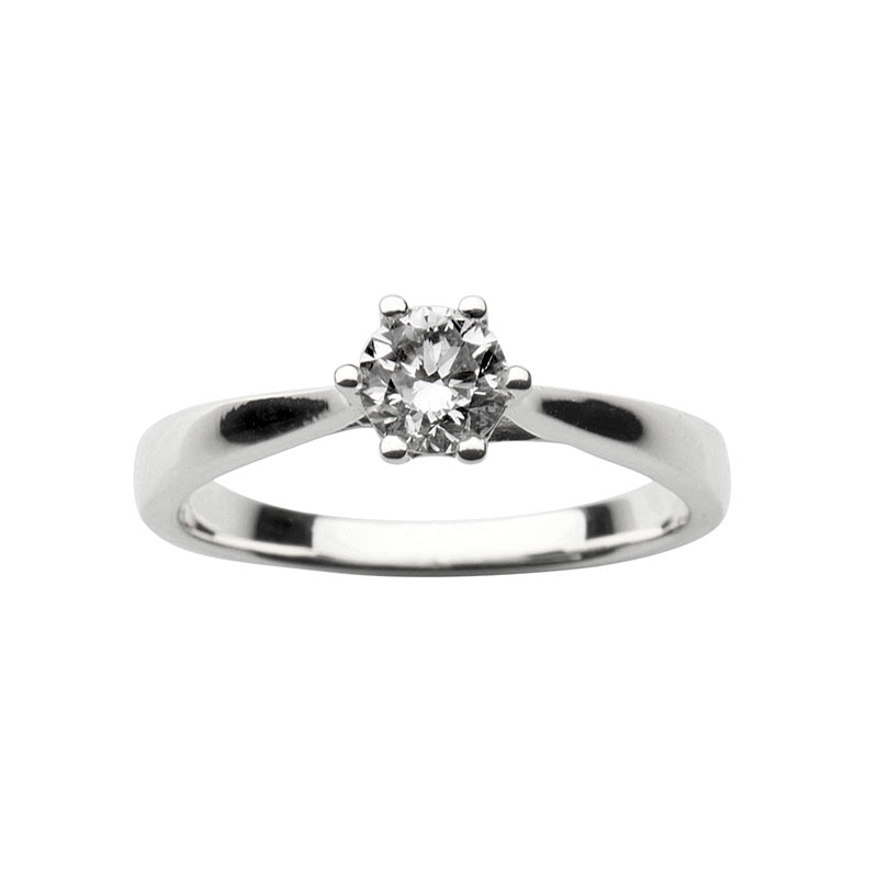Solitaire ring 14 ct white gold 0,25ct