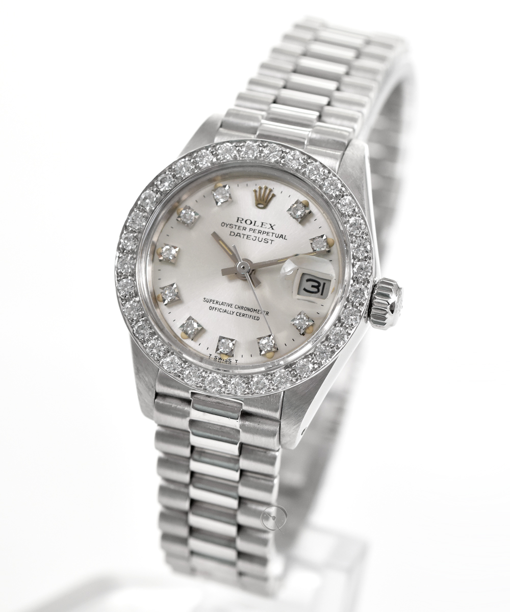 Rolex Datejust Lady white gold ref. 6917 - LC100 with aftermarket brilliant bezel