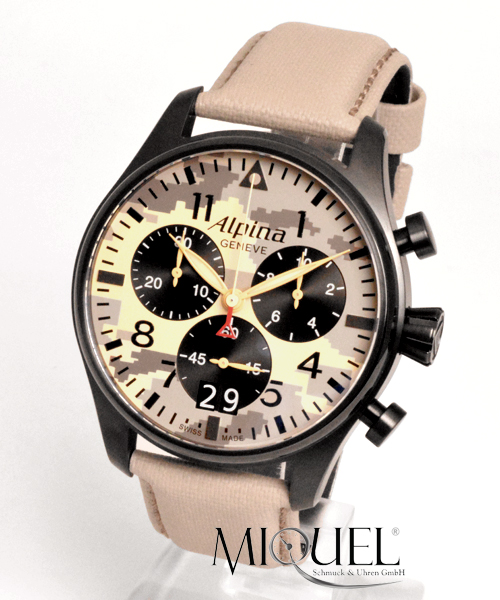 Alpina Startimer Pilot Chronograph Desert Camouflage - 49,9% saved ! *