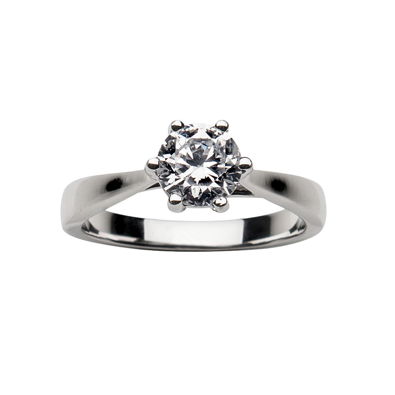 Solitaire ring 14 ct white gold 0,5ct
