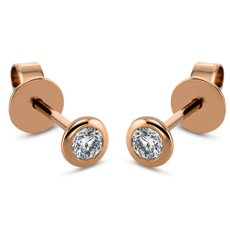 Ear stud frame 18 ct red gold